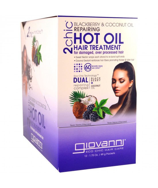 Giovanni, 2chic, Repairing Hot Oil Hair Treatment, Blackberry + Coconut Oil, 12 Packets, 1.75 oz (49 g) Each